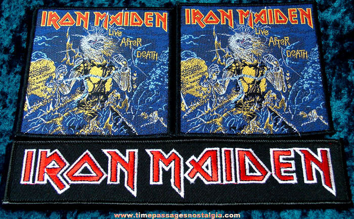 (3) Colorful Old Unused Iron Maiden Embroidered Advertising Cloth Patches