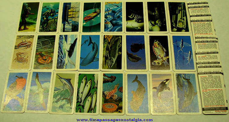 Set of (48) ©1971 Brooke Bond Tea & Coffee Exploring The Ocean Premium Trading Cards