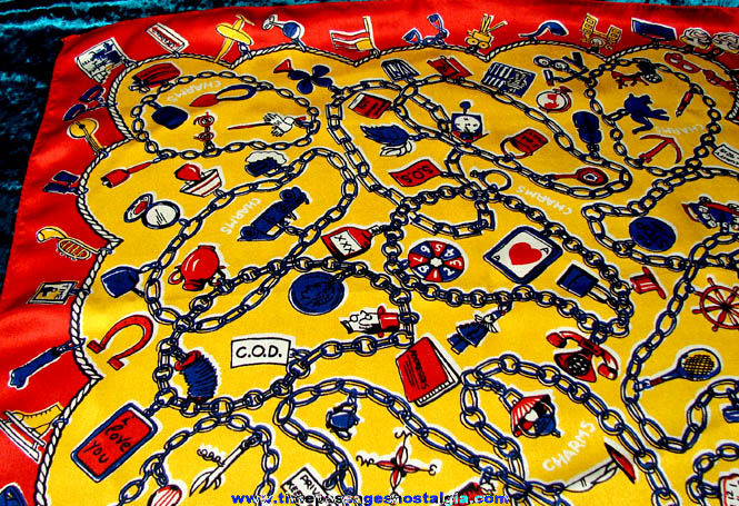 Colorful Old Gum Ball Machine Prize Charm Imprinted Silk Scarf