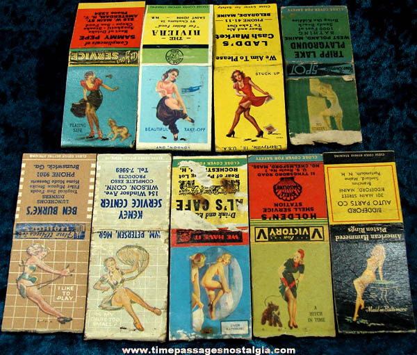 (9) Different Colorful Old Advertising Risque Match Book Covers