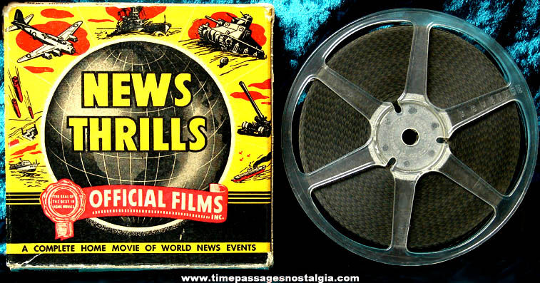 Boxed 1943 Official Films News Thrills 8mm World War II Film Movie