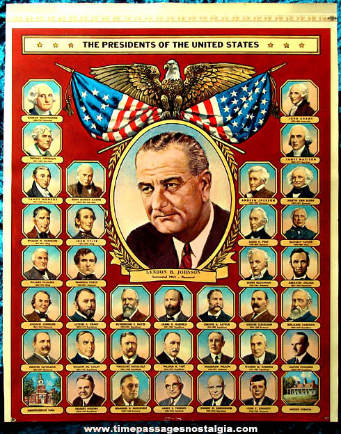 Colorful 1963 United States President Poster Print