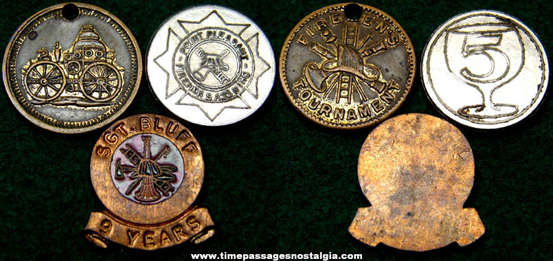 (3) Different Small Old Fireman Token Coins