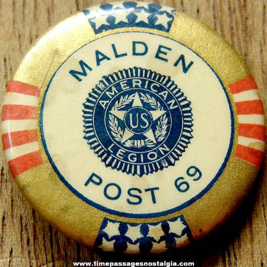 Old Malden Massachusetts American Legion Celluloid Pin Back Button