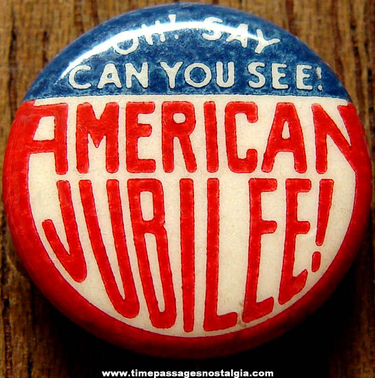Colorful Old American Jubilee Advertising Pin Back Button
