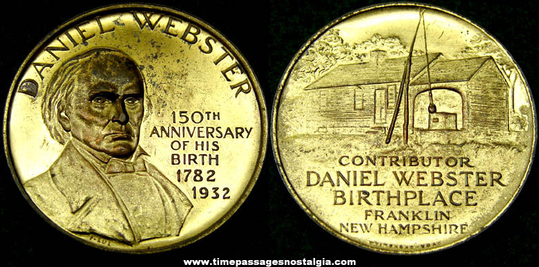 1932 Daniel Webster 150th Anniversary Commemorative Medal
