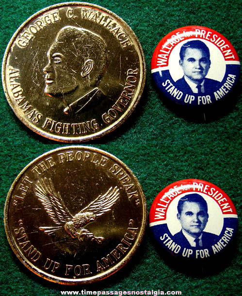 (2) 1968 George Wallace Political Campaign Items
