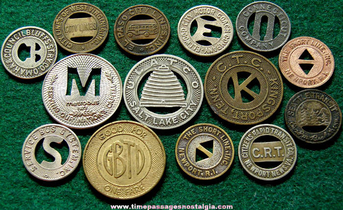 (14) Old Train, Street Car, Trolly, or Bus Advertising Token Coins