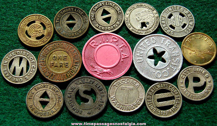 (15) Old Train, Street Car, Trolly, or Bus Advertising Token Coins
