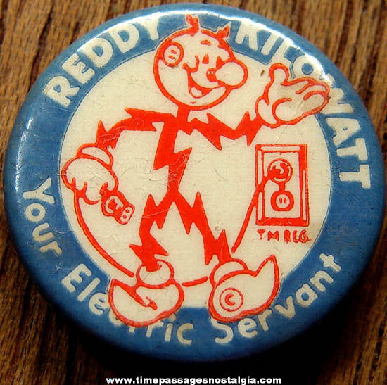Colorful Old Reddy Kilowatt Electric Advertising Character Celluloid Pin Back Button