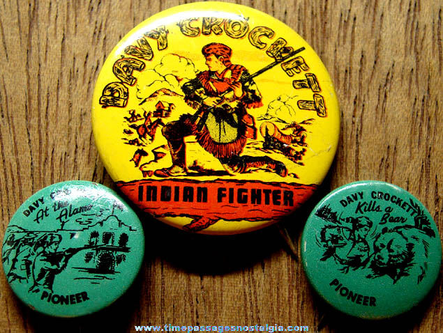 (3) Old Davy Crockett Character Tin Pin Back Buttons