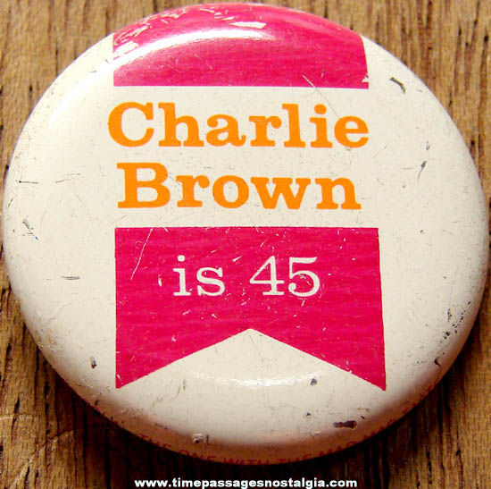 Old Charlie Brown Character Royal Crown Soda Tin Pin Back Button