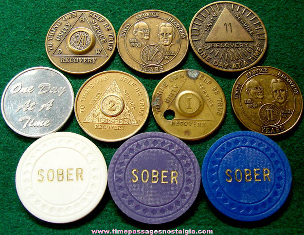 (10) Different Alcoholics Anonymous AA Sobriety Anniversary Token Coins