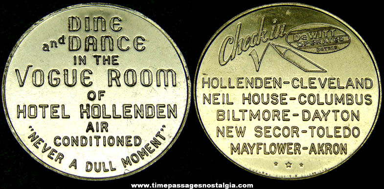 Old Cleveland Ohio Hotel Hollenden Vogue Room Advertising Token Coin