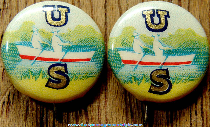 (2) Colorful 1918 US Rowing Celluloid Pin Back Buttons