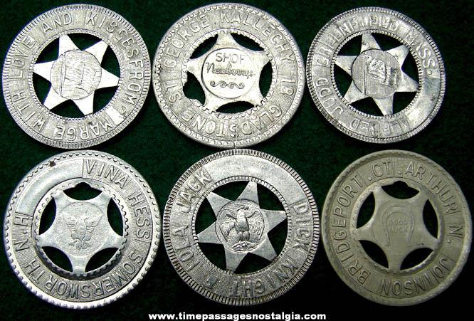 (6) Old Arcade Souvenir Personalized Good Luck Token Coins