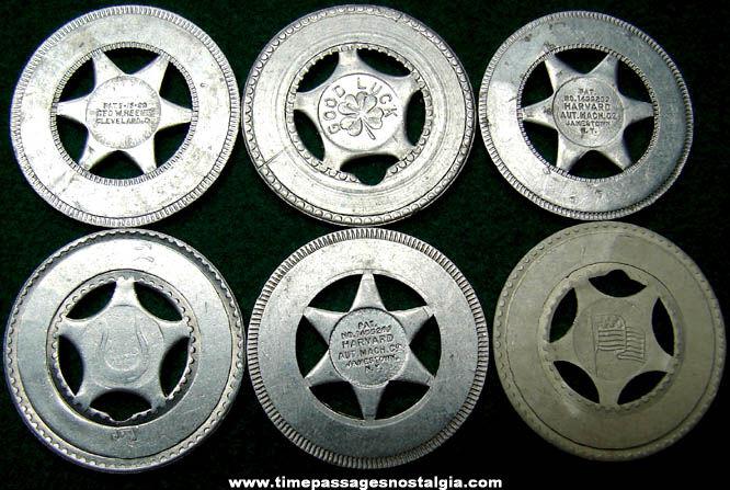 6 Old Arcade Souvenir Personalized Good Luck Token Coins