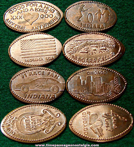 (8) Old Advertising & Souvenir Elongated Cents