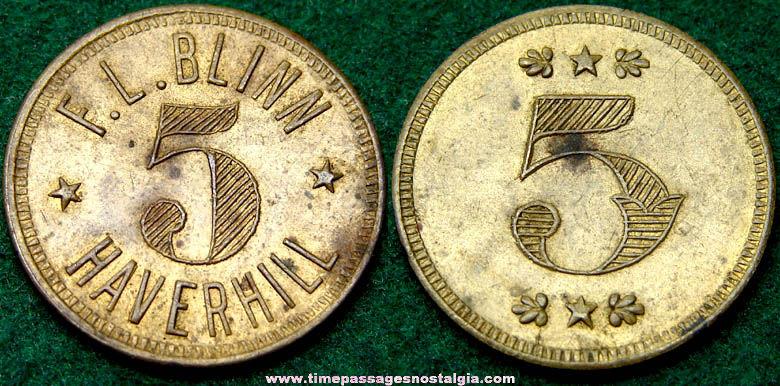 Old F. L. Blinn Advertising Good For 5c Token Coin