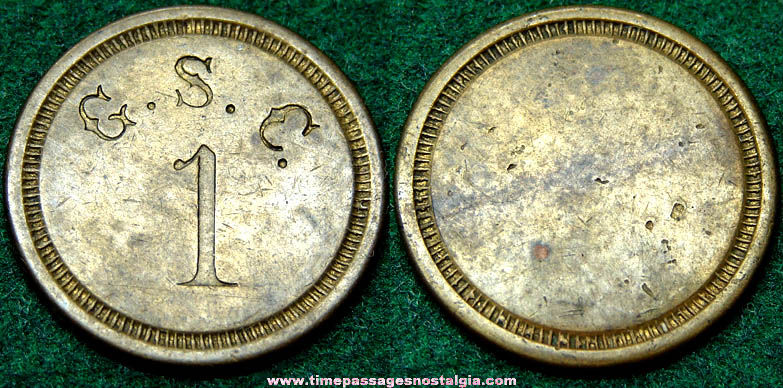 Old Brass G.S.C. Advertising Token Coin
