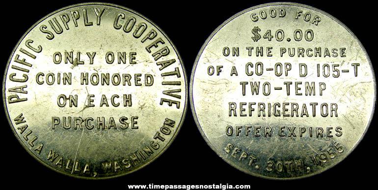 1955 Pacific Supply Cooperative Advertising Premium Coupon Token Coin