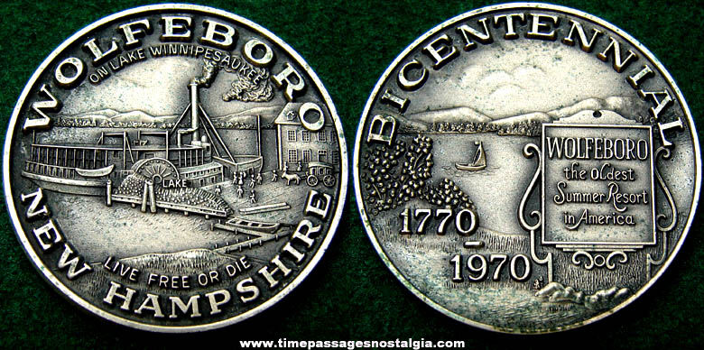 1970 Wolfeboro New Hampshire Bicentennial Advertising Silver Medal Coin