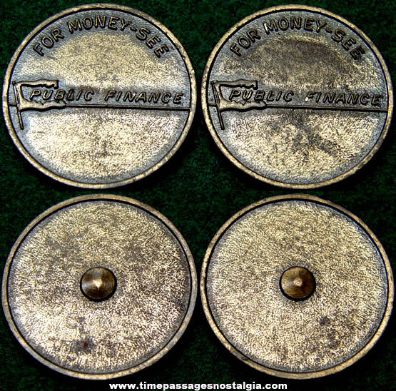 (2) Old Bank Credit Company Advertising Premium Token Coin Spinners
