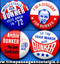 (4) Different 1972 Archie Bunker Gum Ball Machine Prize Political Pin Back Buttons
