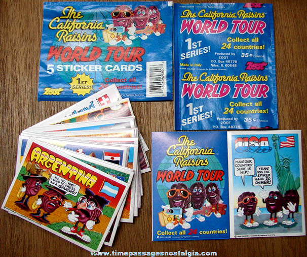 Set of (25) ©1988 California Raisins 1st Series World Tour Non Sports Trading Cards