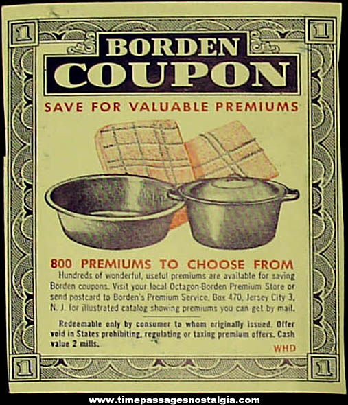 (25) Old Borden Milk Advertising Premium Coupons