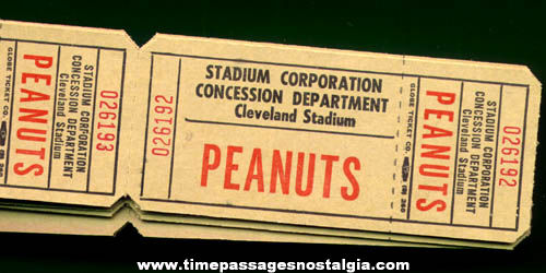 (10) Unused Cleveland Stadium Peanuts Tickets
