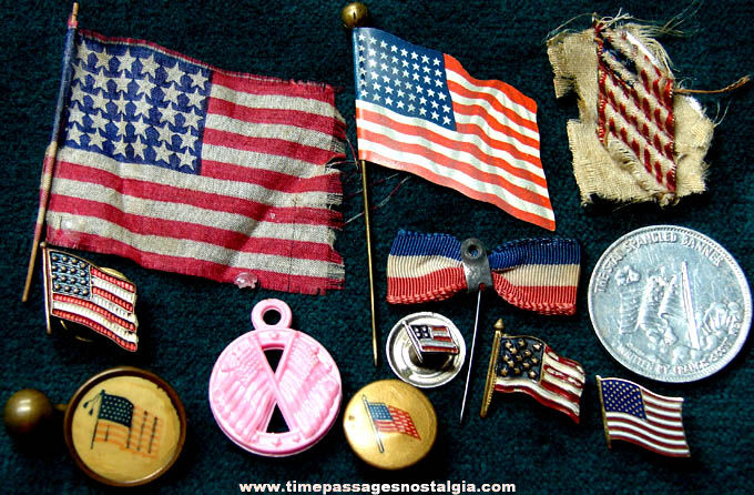 (12) Different Small Old American Flag Items