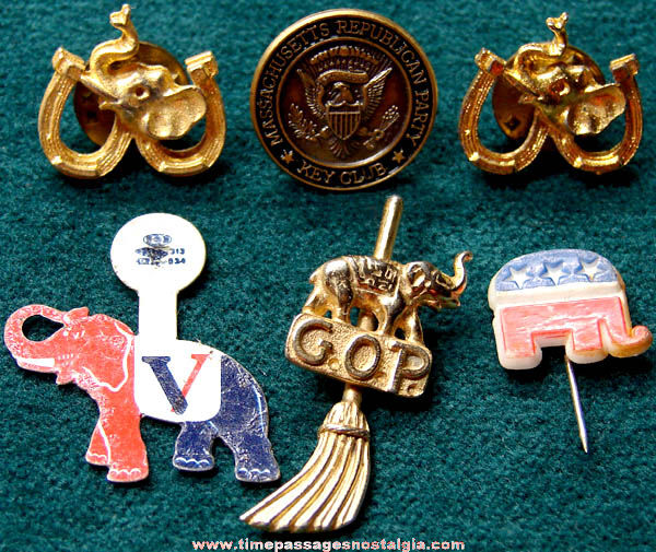 (6) Old American Republican Party Political Campaign Pins