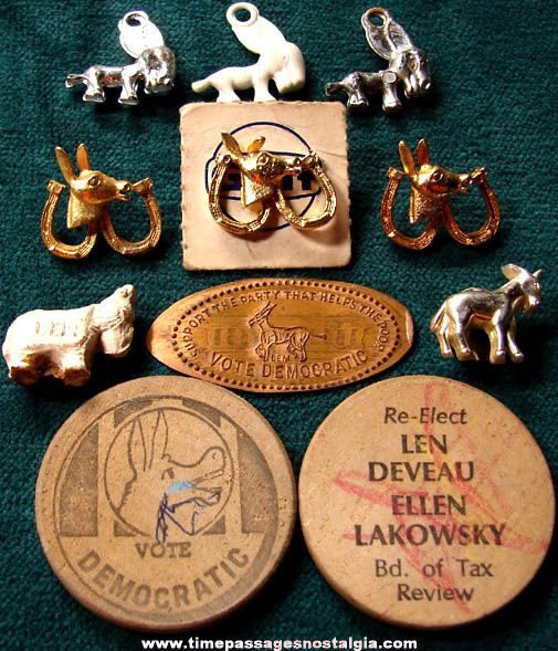 (11) Old American Democratic Party Political Campaign Items