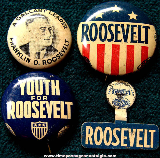 (4) Old Franklin Delano Roosevelt Political Campaign Buttons