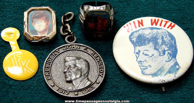(5) Small Old U.S. President John F. Kennedy Political Items