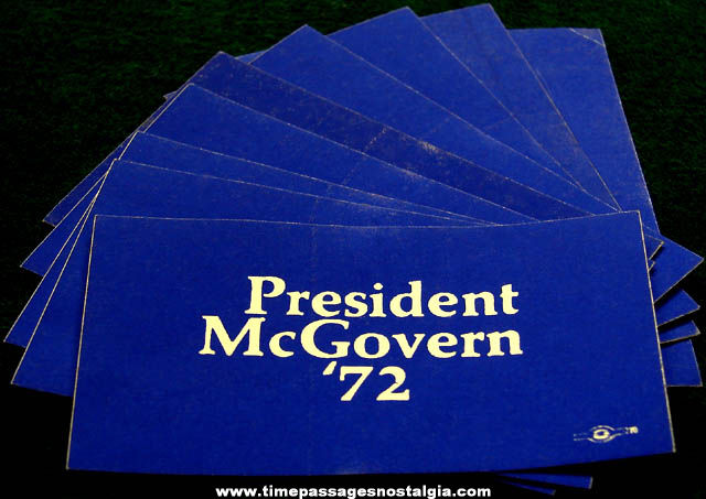(9) Unused 1972 George McGovern Political Campaign Stickers