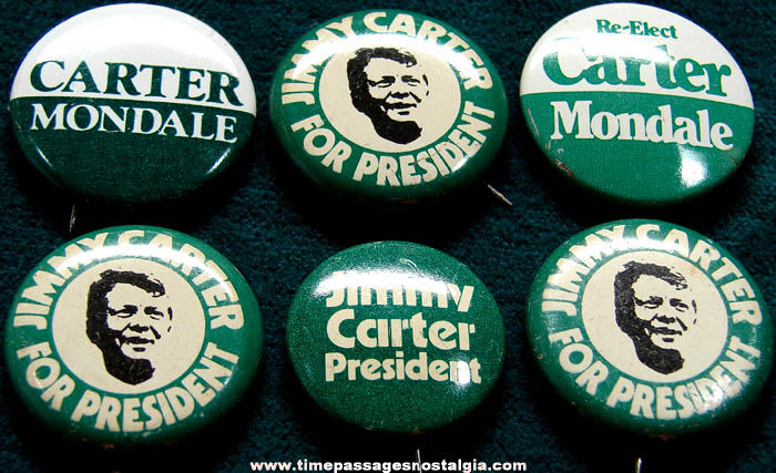 (6) 1974 U.S. President Jimmy Carter Political Campaign Pin Back Buttons