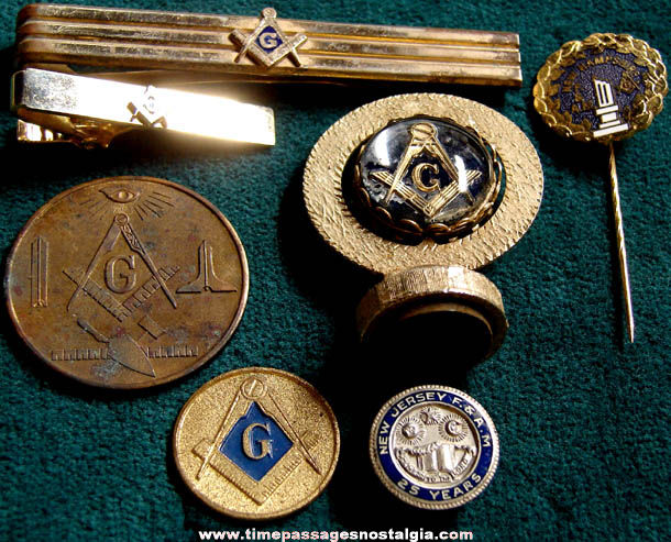 (7) Small Old Masonic Fraternal Items