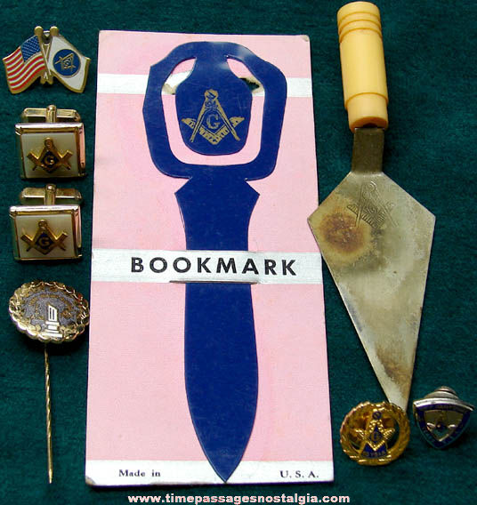 (8) Small Old Masonic Fraternal Items