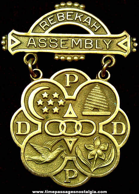 1967 - 1968 Rebekah Assembly I.O.O.F. Medal Badge