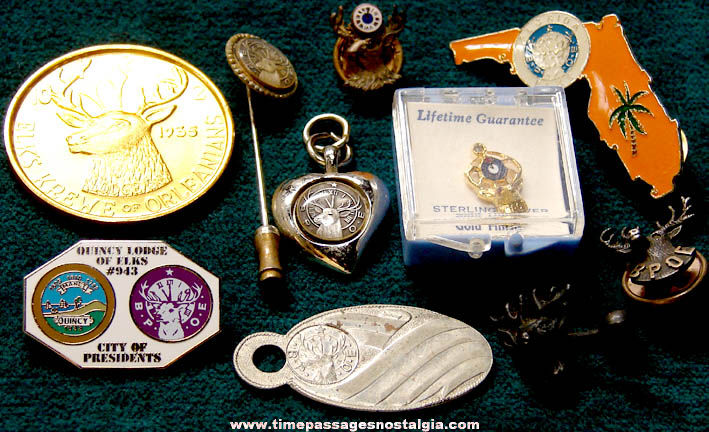 (16) Small Old Elks B.P.O.E. Fraternal Lodge Items