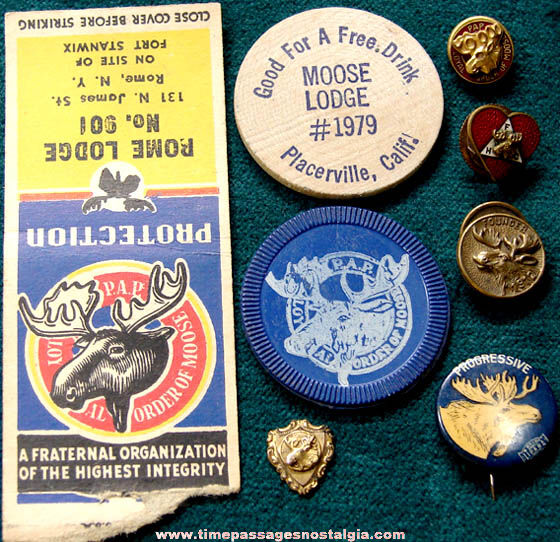 (8) Small Old Loyal Order of Moose Fraternal Lodge Items