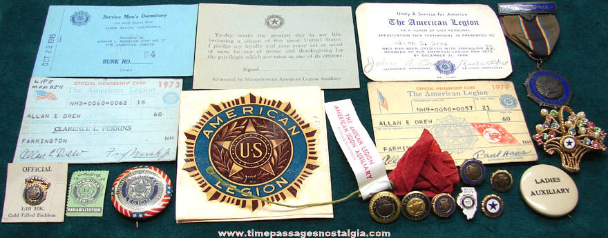 (21) Small Old American Legion Veteran Fraternal Items
