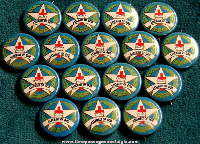 (16) Old Assembly of God Tin Religious Pin Back Buttons