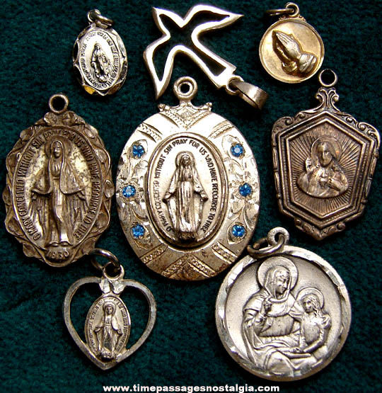 (8) Different Old Christian Silver Religious Medallion Pendant Charms