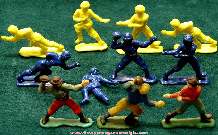 (11) Old Hard Plastic Football Player Toy Figures