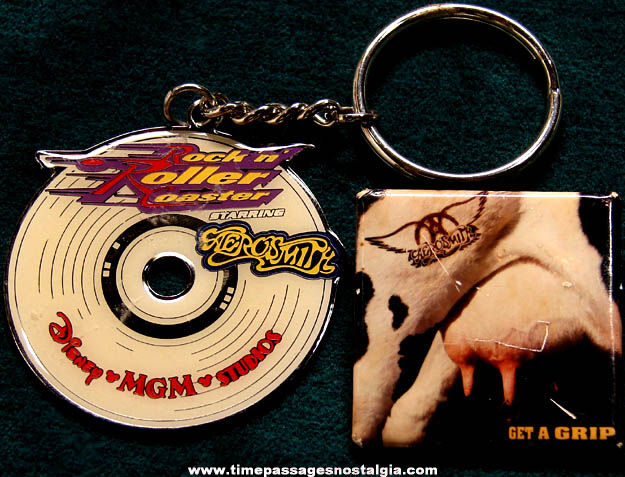 (2) Old Aerosmith Music Advertising Souvenir Items