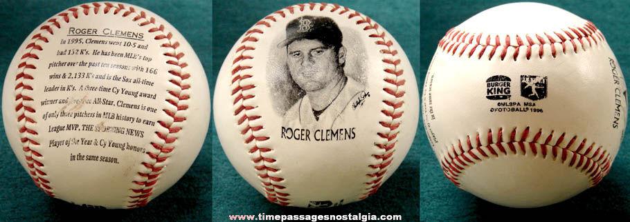 ©1996 Roger Clemens Burger King Premium Baseball