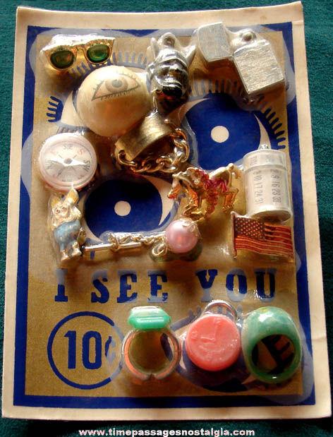 Old Gum Ball Machine Prize Advertising Header Card